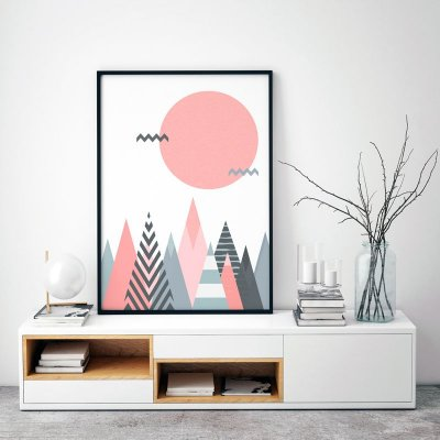 Quadro Poster Decorativo Geométrico Escandinavo - Abstrato, Triângulos, Círculo, Sol, Montanhas, Minimalista