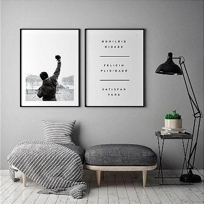 Conjunto 2 Quadros Decorativos - Fimle Rocky Balboa Braço Erguido + Frase Humildignidade