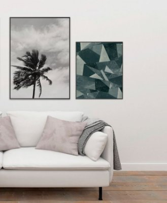 Conjunto 2 Quadros Decorativos - Fotografia Coqueiro 50x70 cm + Geométrico Cinza 40x50 cm