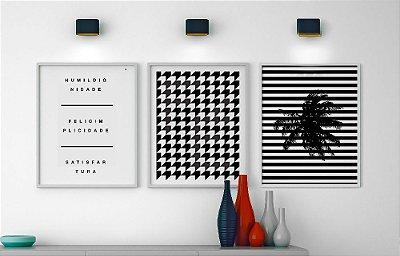 Conjunto 3 Quadros Decorativos Preto e Branco - Frase Humildignidade + Frase Geométrico Fé + Coqueiro Listras