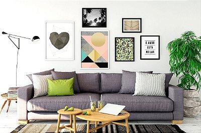 Conjunto 6 Quadros Decorativos - Coração, Geométricos, Natureza, Frase, Amor
