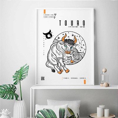 Quadro Poster Decorativo Signo Touro Com Realidade Aumentada