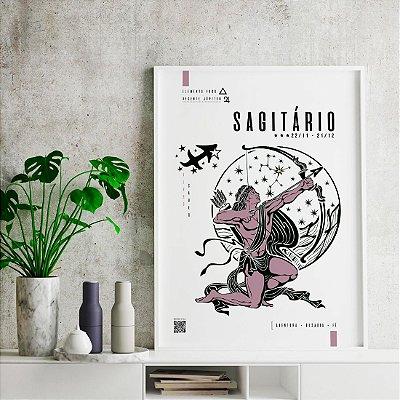 Quadro Poster Decorativo Signo Sagitário Com Realidade Aumentada