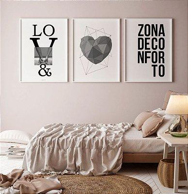 Conjunto 3 Quadros Decorativos Love, Coração Geométrico, Zona de Conforto -  Frases, Quarto, Minimalista