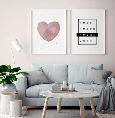 Conjunto 2 Quadros Decorativos Coração Geométrico Rosé, Amor 4 Idiomas -  Composição, Minimalista