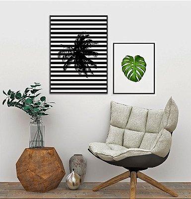 Conjunto 2 Quadros Decorativos - Coqueiro Fundo Listras 50x70 cm + Costela Adão 40x50 cm