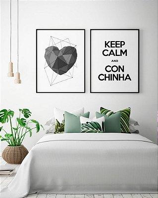 03b7a89a5 Conjunto 2 Quadros Decorativos - Coração Cinza + Frase Keep Calm Conchinha