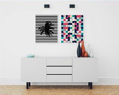 Conjunto 2 Quadros Decorativos Geométricos - Coqueiro Listras Preto e Branco + Círculos Coloridos