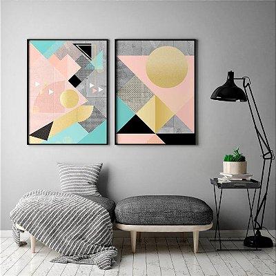 Conjunto 2 Quadros Decorativos Geométricos - Peixe e Sol, Cores Rosa, Cinza, Azul