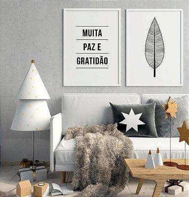 Conjunto 2 Quadros Decorativos Paz e Gratidão + Folha Boho - Preto e Branco, Frase, Minimalista