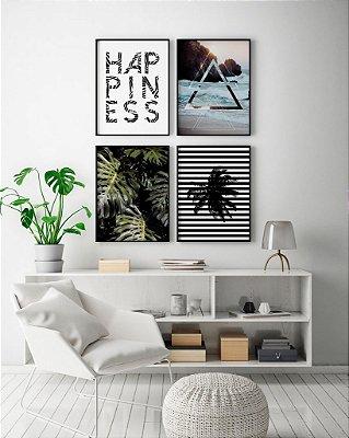 Conjunto 4 Quadros Decorativos - Frase Happiness + Praia + Foto Costela de Adão + Coqueiro Listras