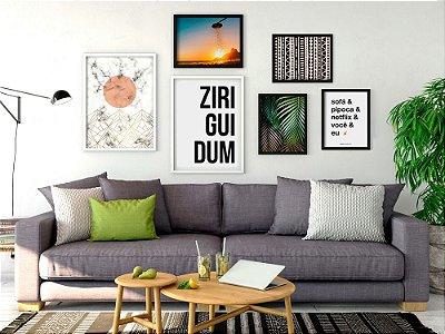 Conjunto 6 Quadros Decorativos - Geométricos, Frases, Folhas, Natureza, Rio de Janeiro