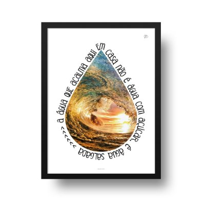 Quadro Poster Decorativo Água Salgada - Praia, Mar, Onda, Surf