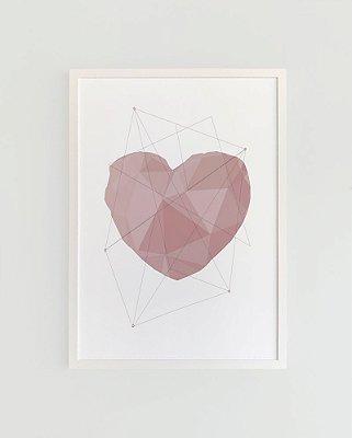 Quadro Decorativo Poster Amor Coração Geométrico Rosé - Love, 3D, Minimalista