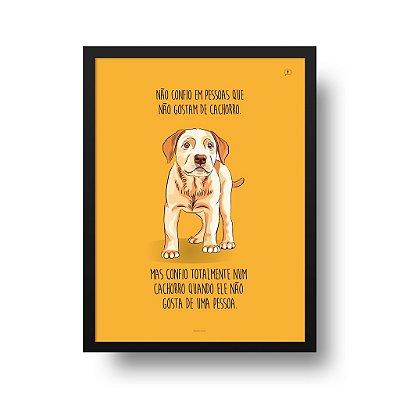Quadro Poster Decorativo Animais Cachorro Labrador - Frase, Confiança, Fundo Amarelo