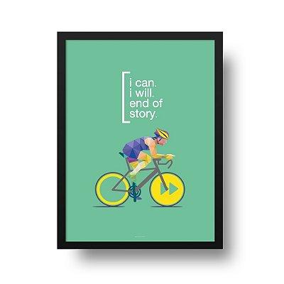 Quadro Poster Decorativo Esporte Ciclismo I Can - Bicicleta, Frase, Motivacional