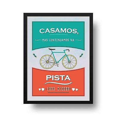 Quadro Poster Decorativo Esporte Cliclismo Casal - Frase, Bicicleta, Casamento
