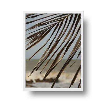 Quadro Decorativo Poster Foto Folhas Mar Ao Fundo - Paisagem, Praia, Pipa, RN