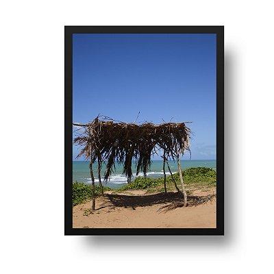 Quadro Decorativo Poster Foto Paisagem Praia - Quiosque, Palha, Pipa, RN