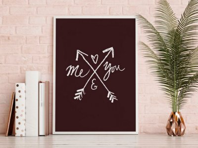 Quadro Poster Decorativo Frase Amor Me and You - Flechas, Preto e Branco