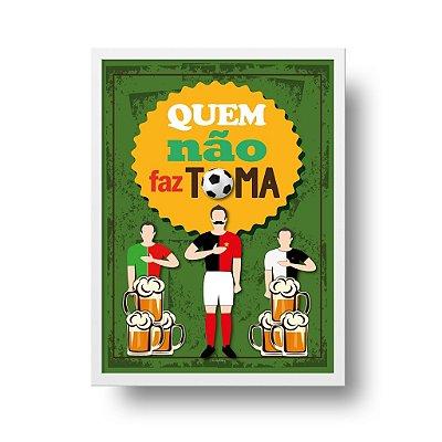Quadro Poster Decorativo Futebol e Cerveja - Frase, Bar, Churrasqueira, Divertido
