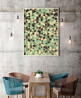 Quadro Poster Decorativo Geométrico Camuflado - Abstrato, Triângulos, Camuflagem