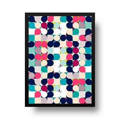 Quadro Decorativo Poster Geométrico Círculos Retrô - Abstrato, Colorido, Vintage