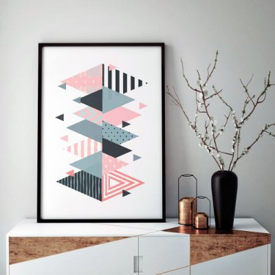Quadro Poster Decorativo Geométrico Escandinavo - Abstrato, Triângulos, Minimalista