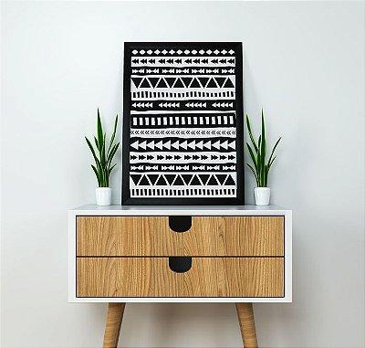 Quadro Poster Decorativo Geométrico Étnico Asteca - Minimalista, Triângulos, Preto, Branco