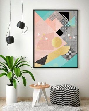 Quadro Poster Decorativo Geométrico Lines And Layers Peixe - Abstrato, Triângulos