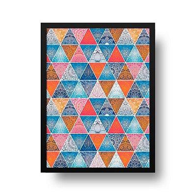 Quadro Poster Decorativo Geométrico Mandala - Abstrato, Triângulos, Zen