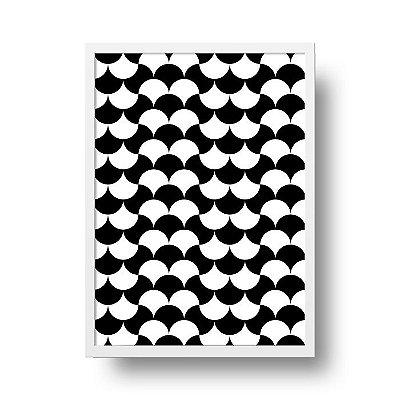 Quadro Poster Decorativo Geométrico Preto e Branco - Ondas, Abstrato