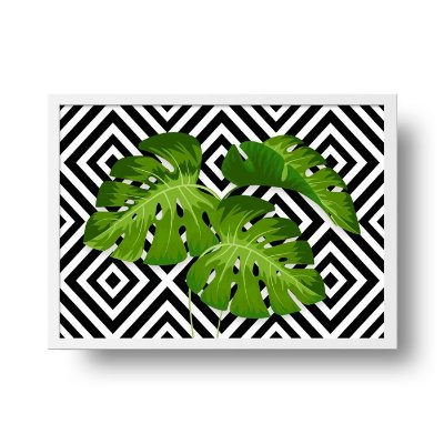 Quadro Poster Decorativo Geométrico Tropical Folhas Costela Adão - Natureza, Abstrato