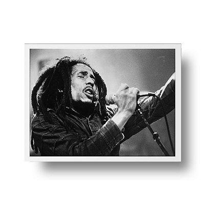 Quadro Poster Decorativo Música Bob Marley - Fotografia Preto e Branco
