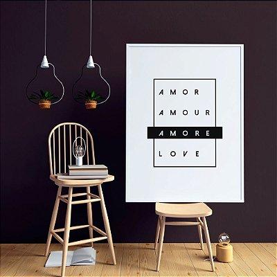 Quadro Decorativo Poster Palavra Amor 4 Idiomas - Amor, Love, Amore, Amour