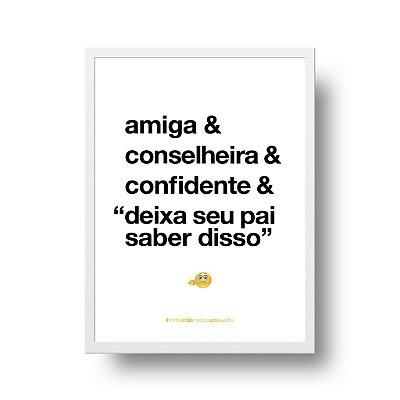 Quadro Poster Decorativo Para Mãe Amiga - Palavras, Homenagem, Mães