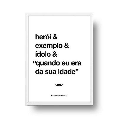 Quadro Poster Decorativo Para Pai Herói - Palavras, Homenagem, Pais