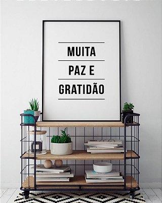 Quadro Decorativo Poster Paz e Gratidão - Frase, Motivacional, Minimalista