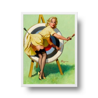 Quadro Decorativo Poster Pin Up Flechas No Alvo - Vintage, Retrô, Sexy Girl