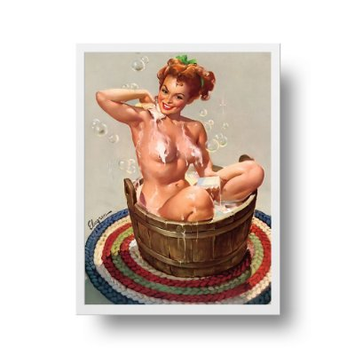 Quadro Decorativo Poster Pin Up Girl Bubbling Over Bath - Banho, Banheira, Vintage