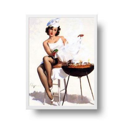 Quadro Poster Decorativo Pin Up Girl Churrasqueira - Vintage, Retrô