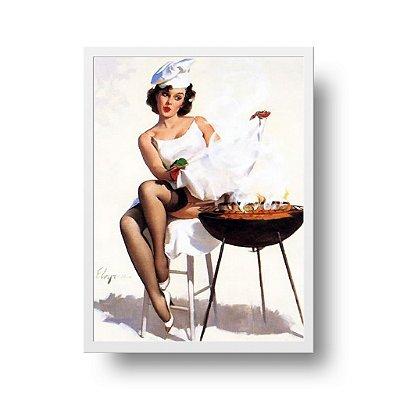 Quadro Decorativo Poster Pin Up Girl Churrasqueira - Vintage, Retrô