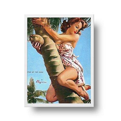 Quadro Poster Decorativo Pin Up Girl Coqueiro - Vintage, Retrô, Côco