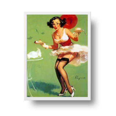 Quadro Decorativo Poster Pin Up Girl Fresh Breeze & Desert - Vintage, Saia Voando