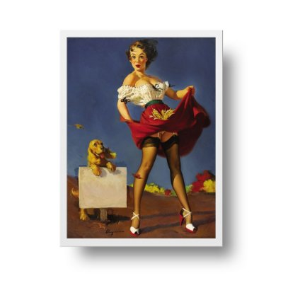 Quadro Poster Decorativo Pin Up Girl Fresh Breeze With Dog - Vintage, Saia Voando