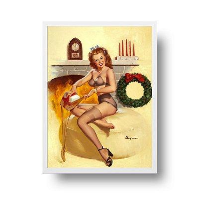 Quadro Decorativo Poster Pin Up Girl Lareira - Vintage, Retrô