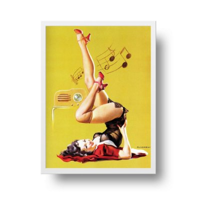Quadro Decorativo Poster Pin Up Girl Station Wow - Rádio, Música, Vintage
