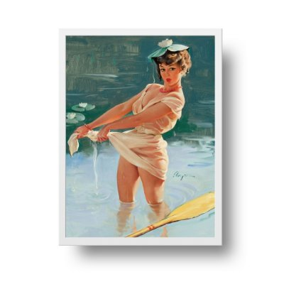 Quadro Poster Decorativo Pin Up Girl Torcendo Roupa Molhada - Vintage, Retrô