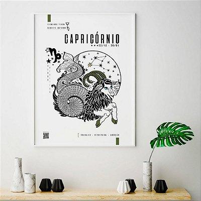 Quadro Poster Decorativo Signo Capricórnio Com Realidade Aumentada