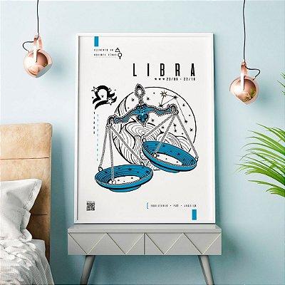 Quadro Decorativo Poster Signo Libra Com Realidade Aumentada